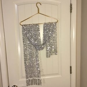 Apt. 9 Silver Sequins Scarf Fringed